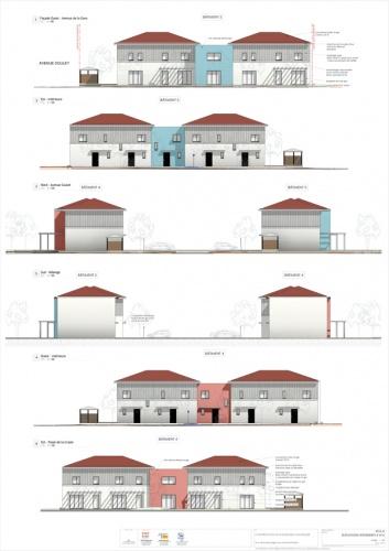 Construction d'un ensemble immobilier de 63 logements et commerce : PC5-5 Façades bat4&5  - A1 COUL - 6 ex