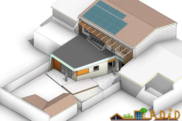 Extension et rénovation énergétique de la maison de ville « LVK » : 14-054 - Axo