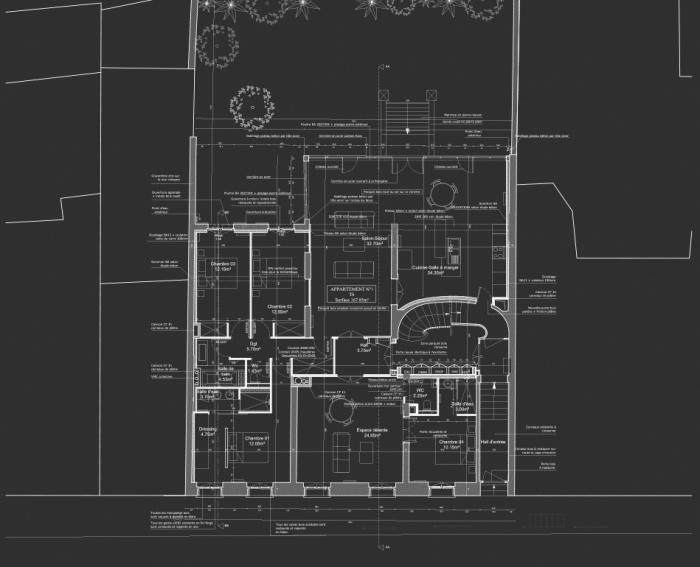 Réhabilitation, surélévation et extension d'un immeuble à Bordeaux : Plan RDC