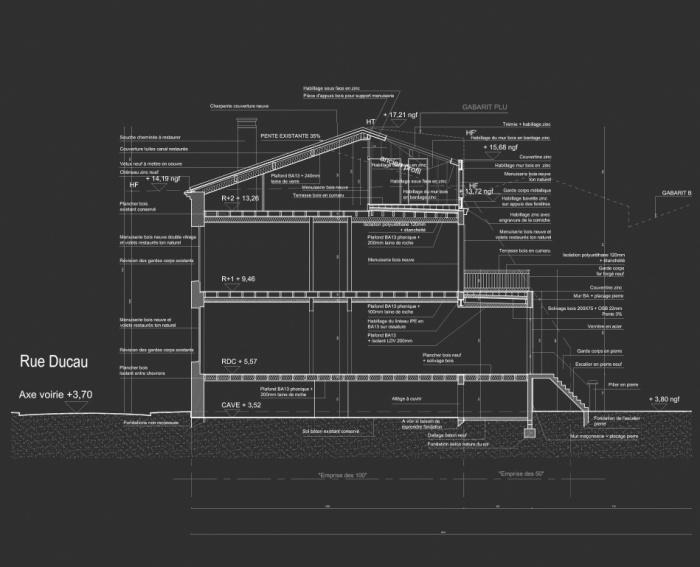 Réhabilitation, surélévation et extension d'un immeuble à Bordeaux : Coupe