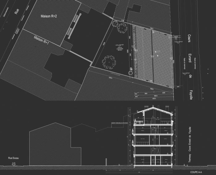 Construction d'un immeuble neuf à Bordeaux : Plan masse et coupe