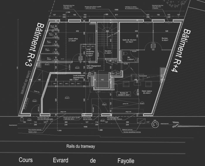 Construction d'un immeuble neuf à Bordeaux : Plan RDC