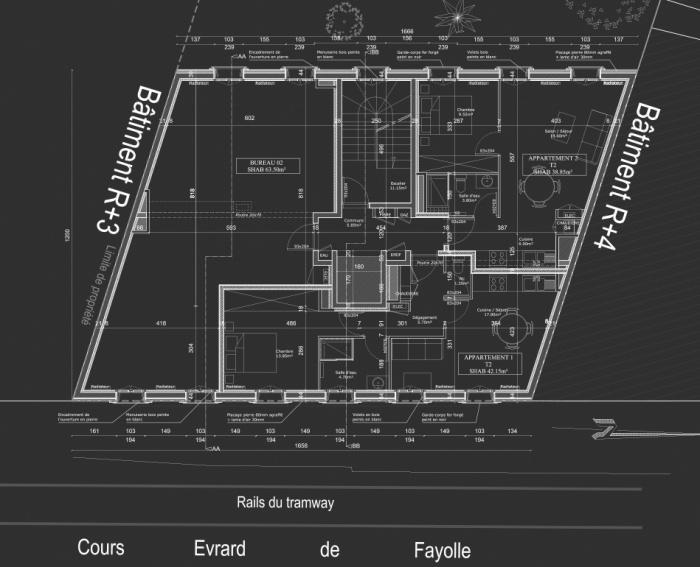 Construction d'un immeuble neuf à Bordeaux : Plan R+1