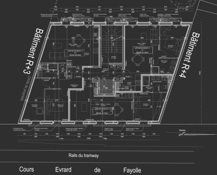 Construction d'un immeuble neuf à Bordeaux : Plan R+2