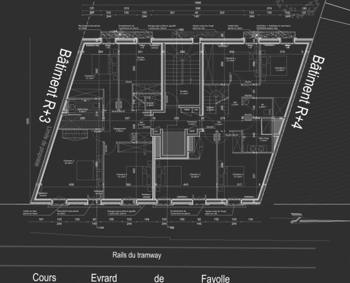 Construction d'un immeuble neuf à Bordeaux : Plan R+3