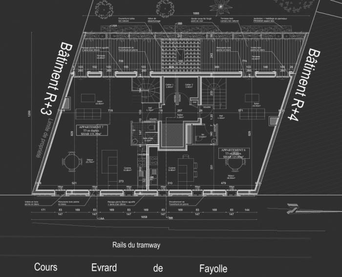 Construction d'un immeuble neuf à Bordeaux : Plan R+4