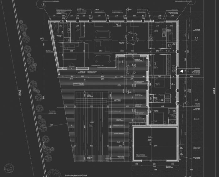 Maison contemporaine sur le bassin : Plan RDC