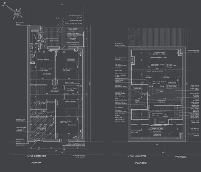 Rénovation complète d'une maison de ville : Plan R+1 et R+2 projet