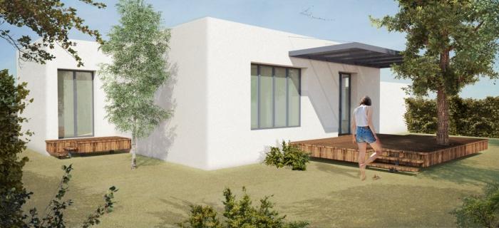 Villa contemporaine avec pergolas, terrasses et jardin.