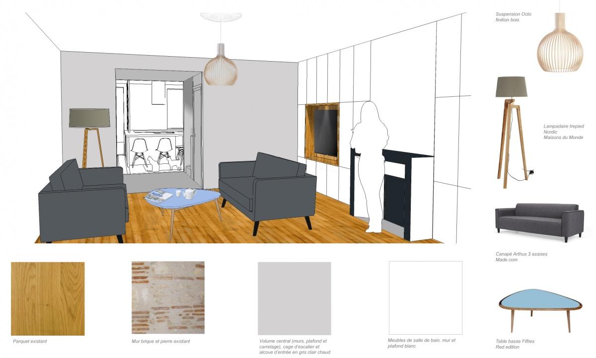 Rénovation d'une maison de ville : salon