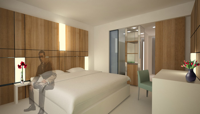 chambre d'hôtel plaquée bois
