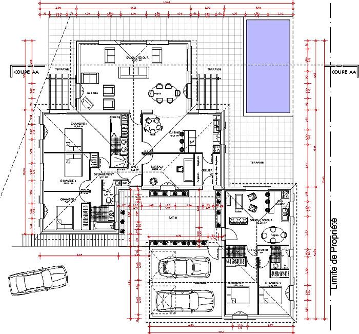 Architectes construction d 39 une maison individuelle dans l - Plan longere plain pied ...