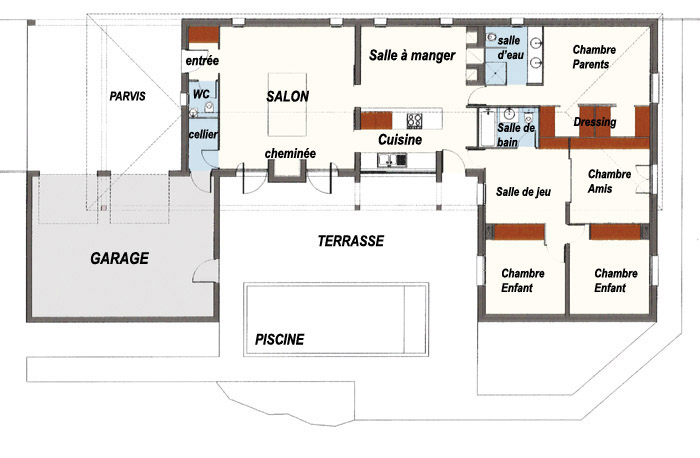 Plan maison contemporaine for Maison moderne en u