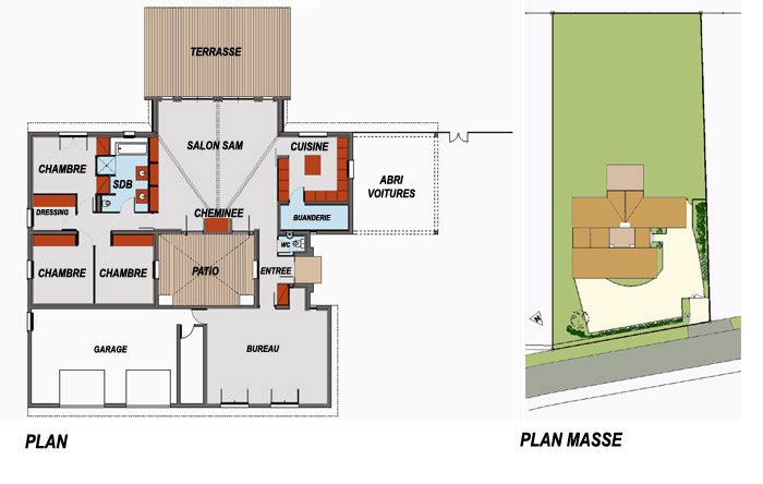 Plan maison architecte avec patio