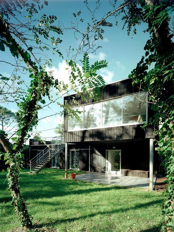 maison bois individuelle 40 biscarrosse une r alisation de lanoire courrian. Black Bedroom Furniture Sets. Home Design Ideas