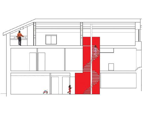 coupe maison de deux étages